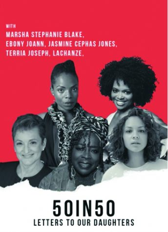 Marsha Stephanie Blake, Ebony Joann, Jasmine Cephas Jones, Terria Joseph and Lachanze performed selected letters on stage at LIU Brooklyn.