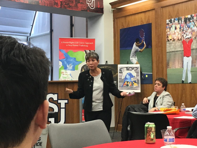 Marietta Latonio spoke on her activist work to listeners.