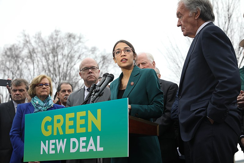 Alexandria Ocasio-Cortez advocates for the implementation of her Green New Deal proposal