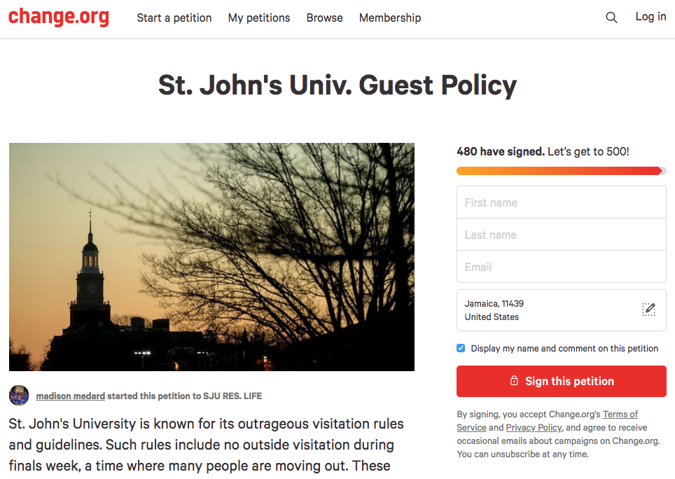 An online change.org petition has garnered the attention of nearly 500 students in an effort to change the dorms guest policies.