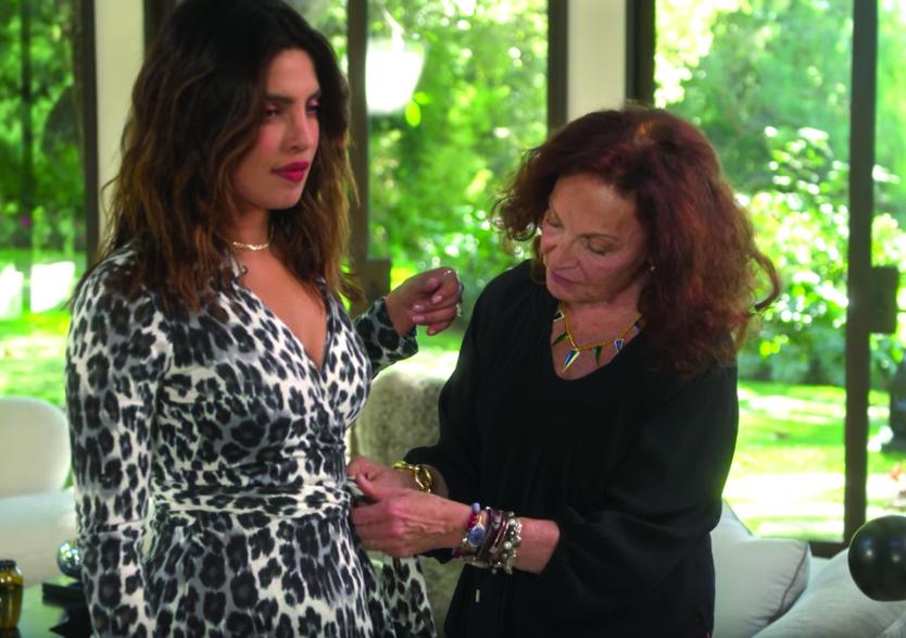 Chopra Jonas tries on Von Furstenberg original wrap dress from 1974.