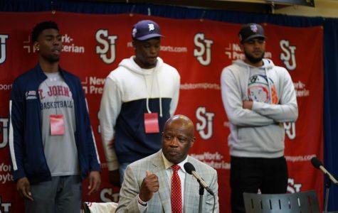 Mike Anderson (Center) asked for Eli Wright,Mustapha Heron and LJ Figueroa to join him during his introductory press conference