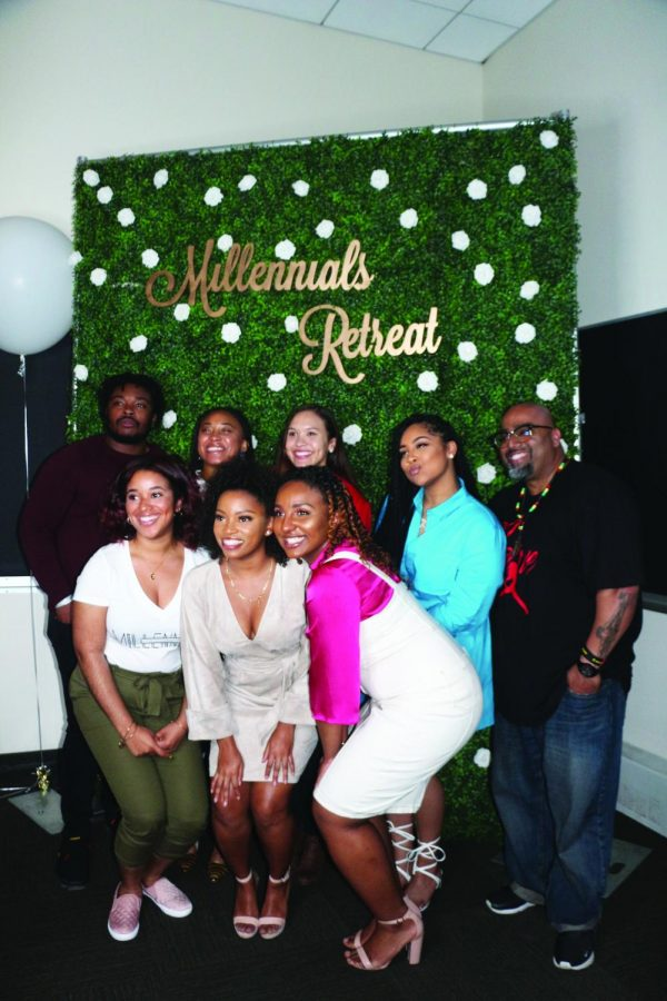 Left to Right: Marvelous Abraham, Morgan Brown, Jasmine Williams, Anaya Roderick, Dr. Ansel Augustine, Kayla D. Copeland, Kristi Campbell, Ariel Metayer.