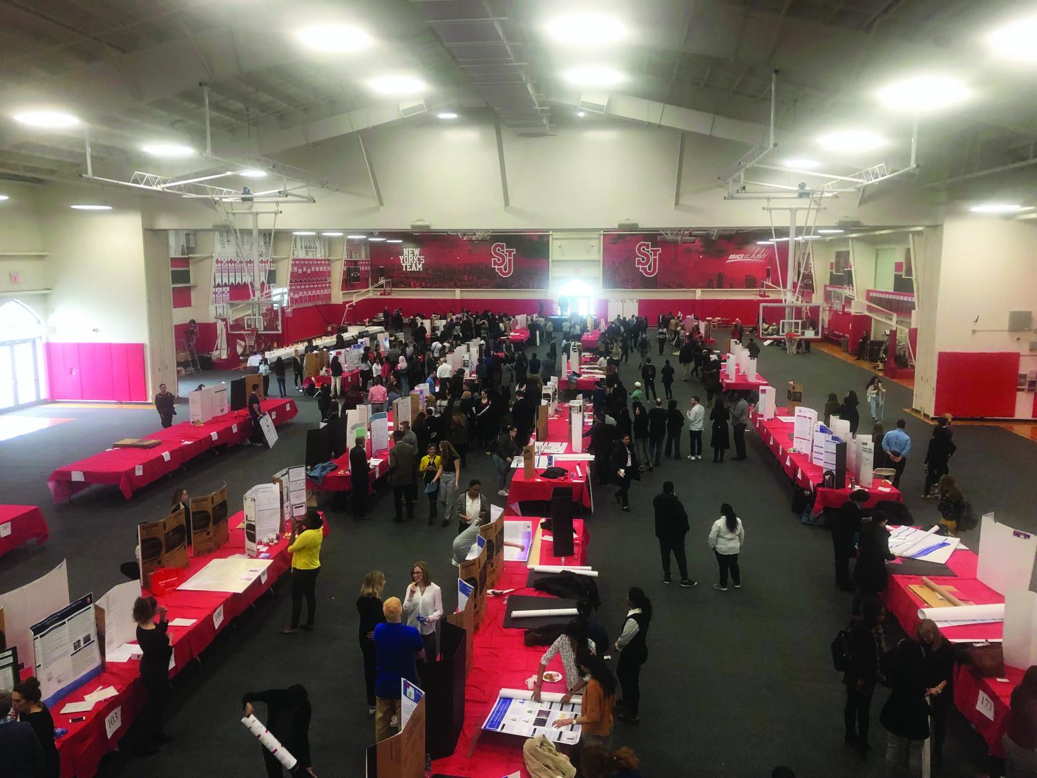 Students and faculty presented their research projects during Research Month's Poster Session in Taffner Field House on April 11.