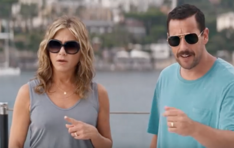 "Jennifer Aniston and Adam Sandler star in Netflix's ""Murder Mystery."""