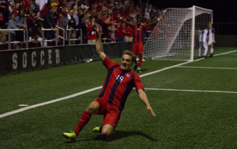 Niko Petridis scored two goals in the Red Storm's 3-1 win over No. 19 Xavier.