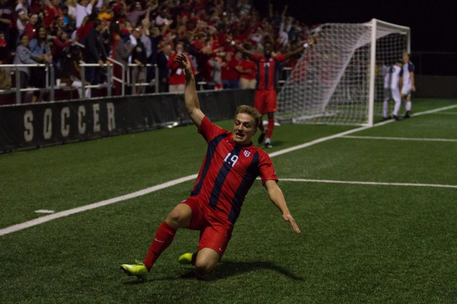 Niko+Petridis+scored+two+goals+in+the+Red+Storm%27s+3-1+win+over+No.+19+Xavier.