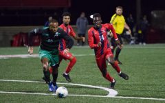 Tani Oluwasayi scored his second goal of the season Friday night against Manhattan.