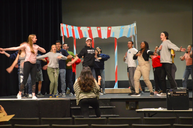 "The Chappell Players ""All Shook Up"" cast rehearsing in the Little Theatre in preparation for opening night Oct. 11 at 8 pm."
