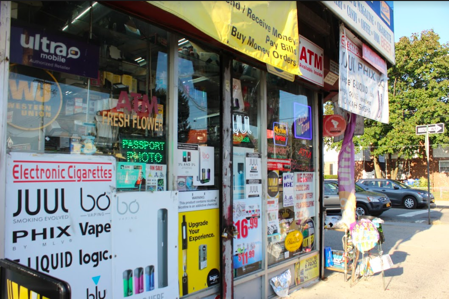 P&M Convenience Store, on the corner of 169th St. and Union Tpke, advertising e-cigarette devices to consumers, including Juul products.