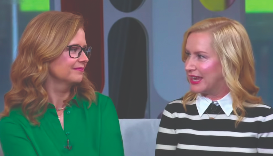 "(Left to right) Fischer and Kinsey promote their new podcast, ""Office Ladies,"" on the ""Strahan, Sara and Keke,"" an ABC daytime talk show."