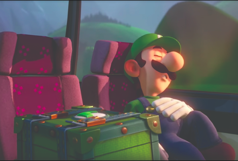"Luigi asleep on the bus en route to ""The Last Resort."""