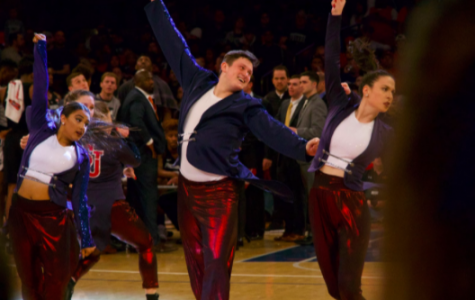 The dance team performs on the court at halftime of a St. John's men's basketball game at Madison Square Garden. TORCH PHOTO/ SPENCER CLINTON