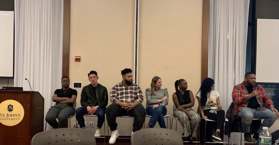 Media professionals speaking about their experiences Tuesday, Feb. 18th at St. John's University Queens campus. From left- Deneil Mullings, Howard Tseng, Ma' Kayle Phillips, Shannon Donohue, Jaide Lewis, Charisse Curtis, Javan Bryant.  TORCH PHOTO/SOPHIE GANGI