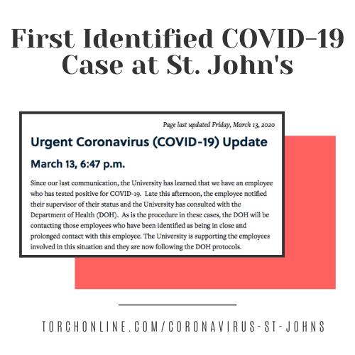 St. John's Employee Tests Positive For Coronavirus