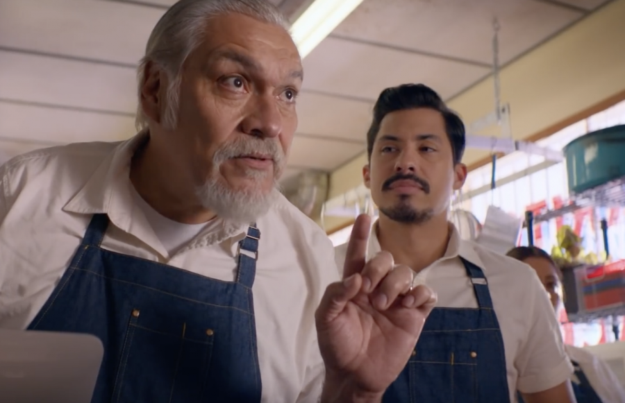 (Left to Right) Pop (played by Joaquín Cosio) and Chris (played by Carlos Santos) ask a customer to leave a nice review for their restaurant, Mama Fina's. PHOTO COURTESY/YouTube Netflix