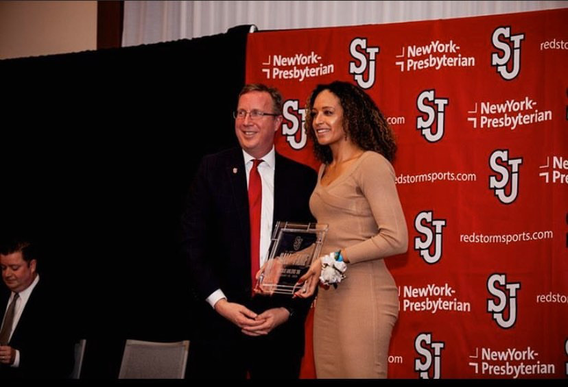 Jacqueline Ahlers gets inducted into the St. John's Hall of Fame. PHOTO COURTESY/SJU ATHLETICS