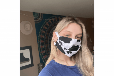 Red House vice president Anna McFillin wearing a homemade mask. These masks can be used on their own or paired with an N95 respirator. PHOTO COURTESY/ ST. JOHN