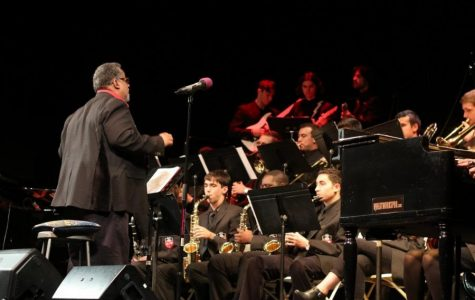 Ferdinand Motley IV directing St. John's Jazz Band on their 30th anniversary performance, in 2017. TORCH PHOTO/ ALEXIA CARVAJALINO