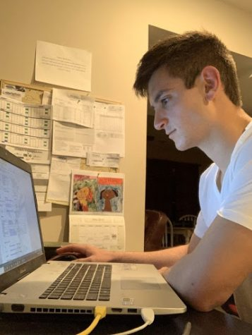 Sophomore homeland security and military leadership major, Jason Nikolatos studies for finals at his home.