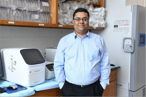 Saurabh Agarwal, Ph.D., an assistant professor in the department of Pharmaceutical Sciences, recently received two grants from St. Baldrick's Foundation to support his research to cure pediatric neuroblastoma.  PHOTO CREDIT/ UNIVERSITY RELATIONS