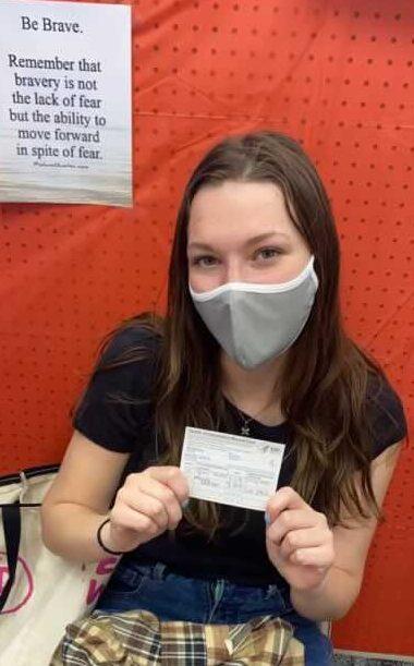 Photo editor Sara Kiernan after receiving her COVID-19 vaccination.